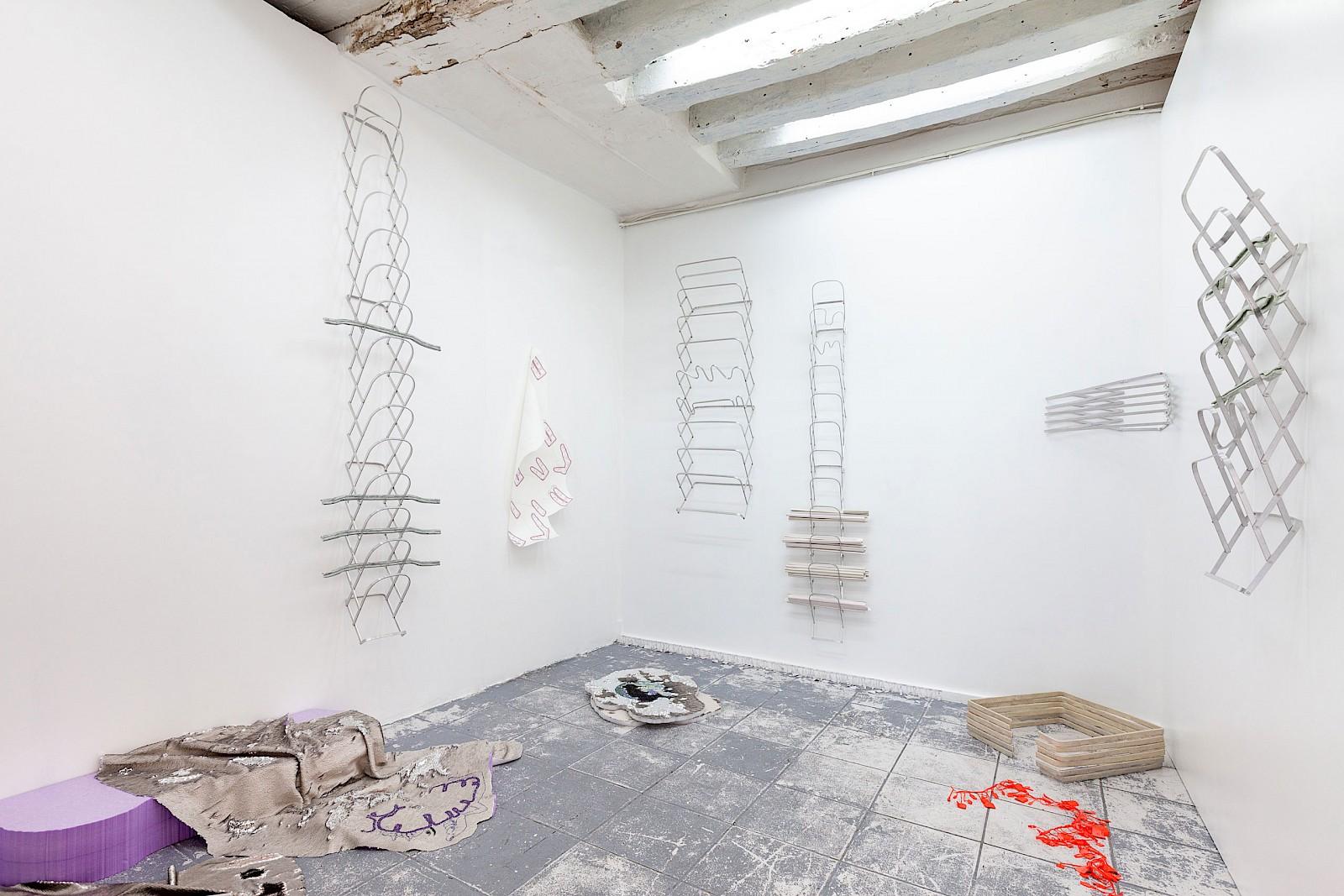 Image - Installation view, Aluminium, textiles, embroidery, ceramics