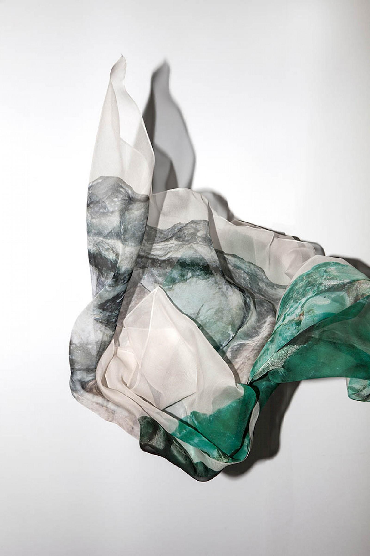 Image - Digital print on chiffon de soie , 138cm x 138cm